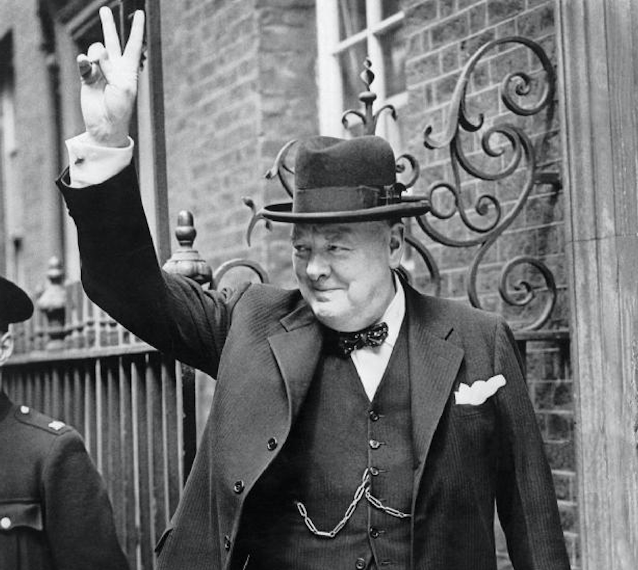 Winston Churchill in a homburg hat