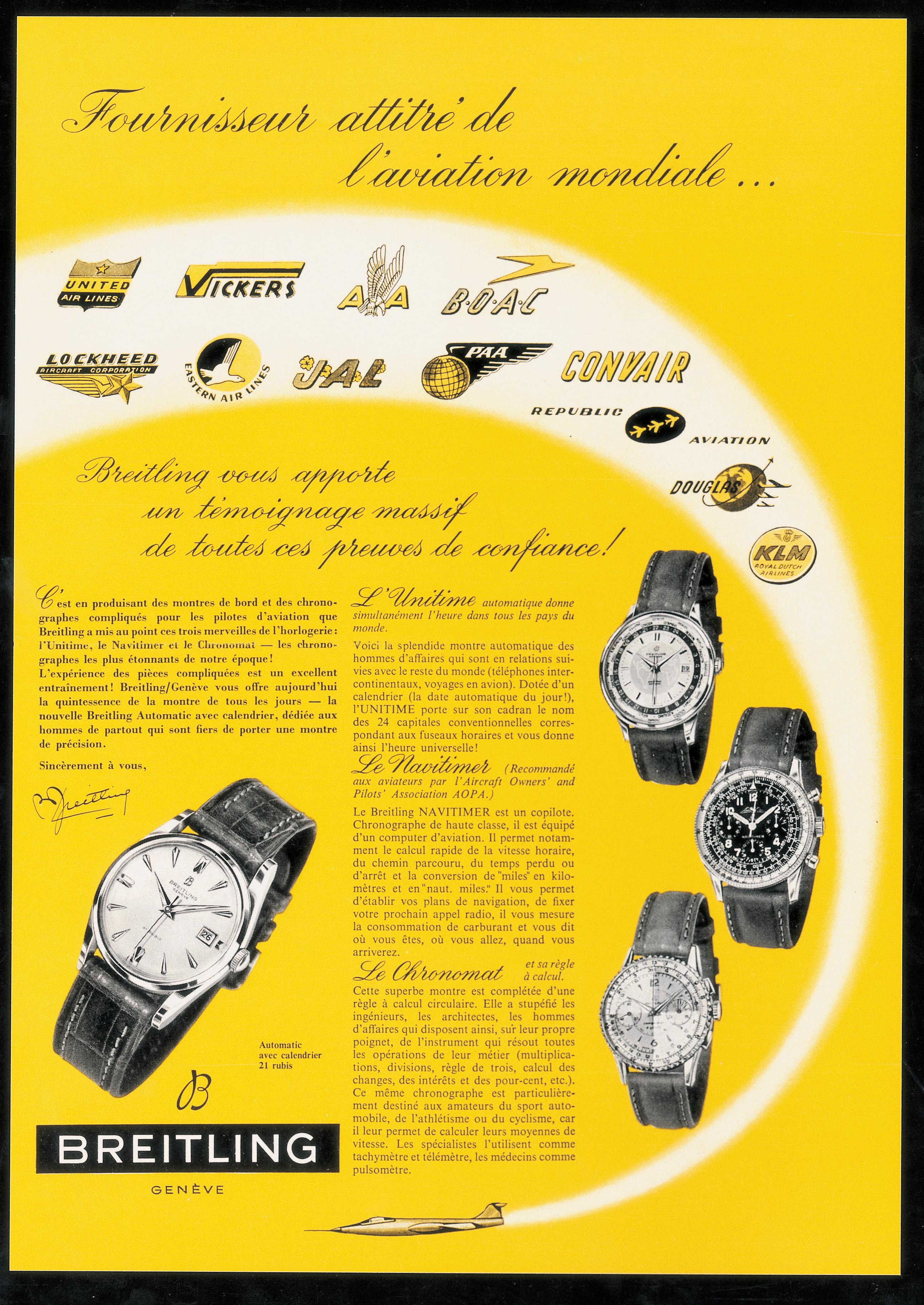 breitling navitimer vintage ad aviation