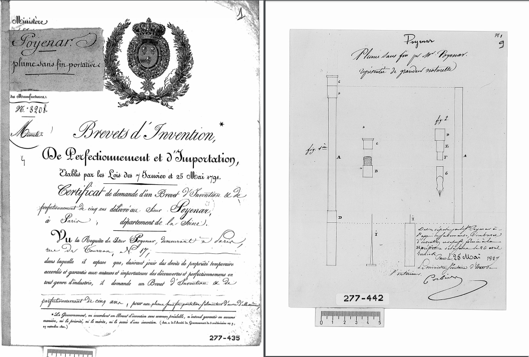 the world's first patent for a fountain pen
