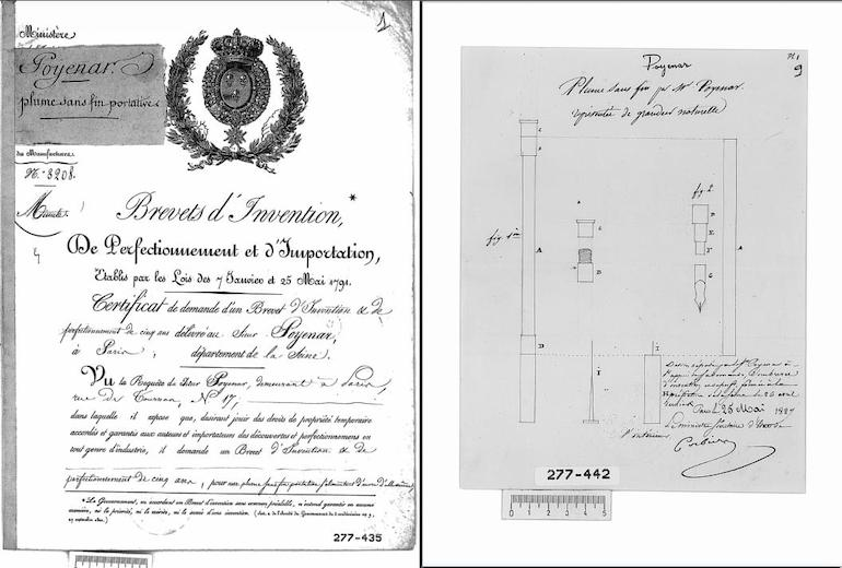 patent for the first fountain pen