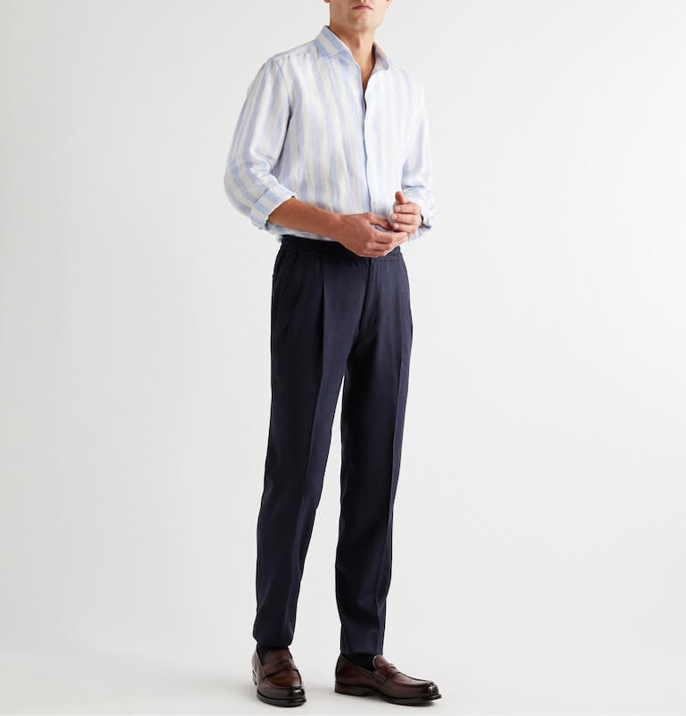 high waisted trousers with double folds