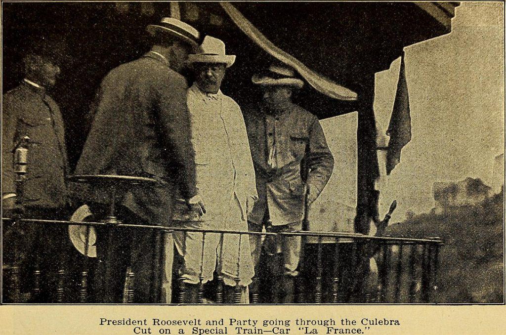 President Teddy Roosevelt wearing a Panama hat.