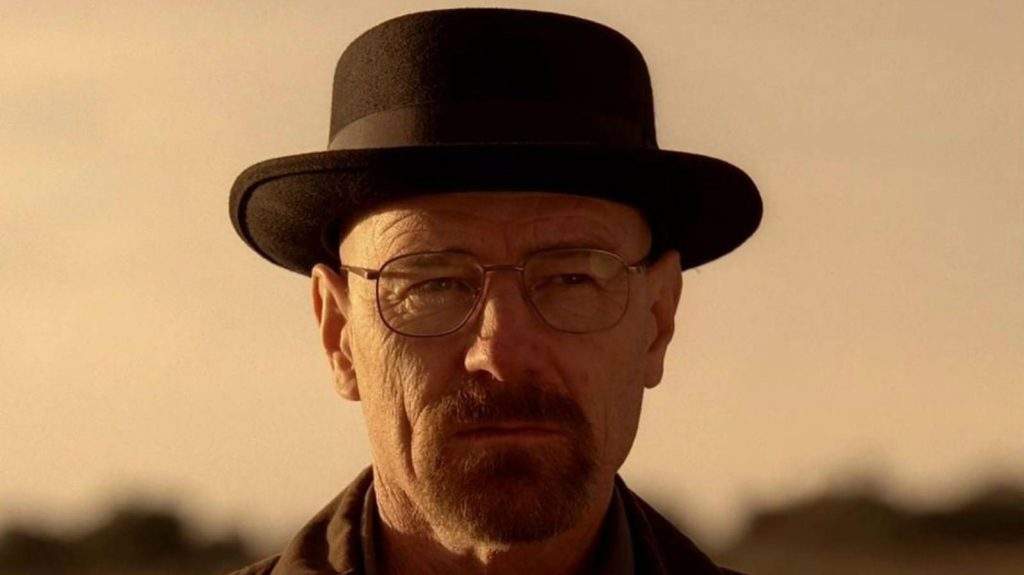 Heisenberg in pork pie hat, stills from Breaking Bad, tv-series.